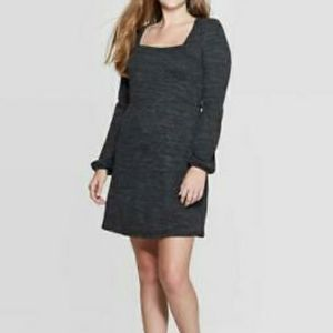 SQUARE NECK LONG SLEEVE KNIT FIT & FLARE DRESS
